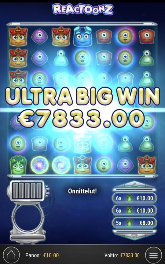 Reactoonz Casino win picture by Sonefinland 30.4.2021 7833e 783X