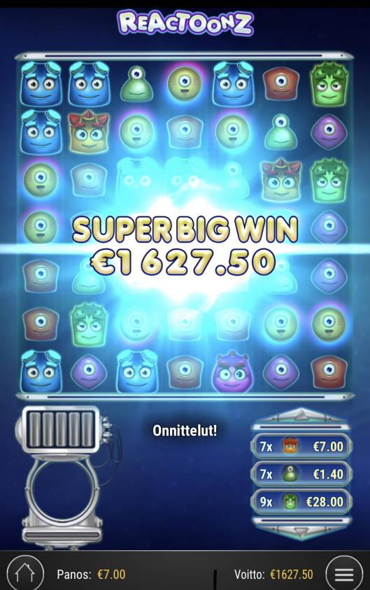 Reactoonz Casino win picture by Sonefinland 7.5.2021 1627.50e 233X
