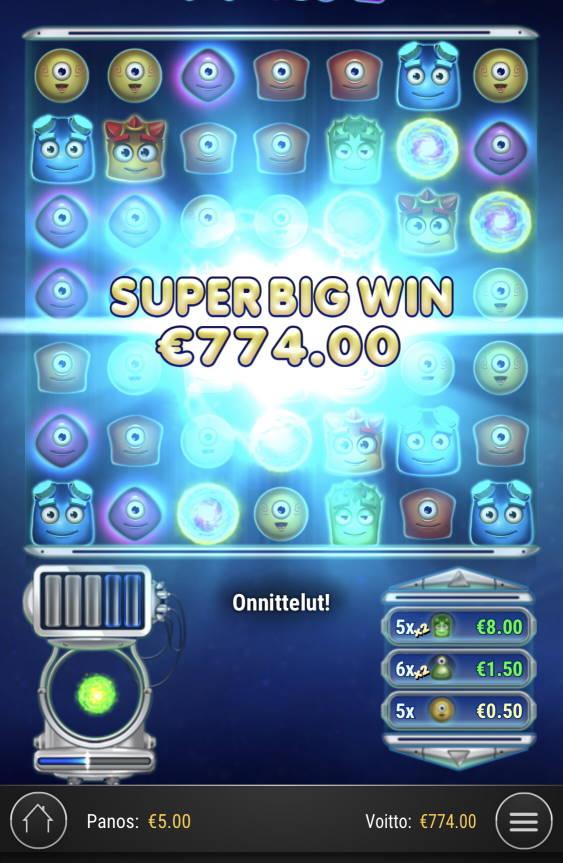 Reactoonz Casino win picture by Sonefinland 7.5.2021 774e 155X