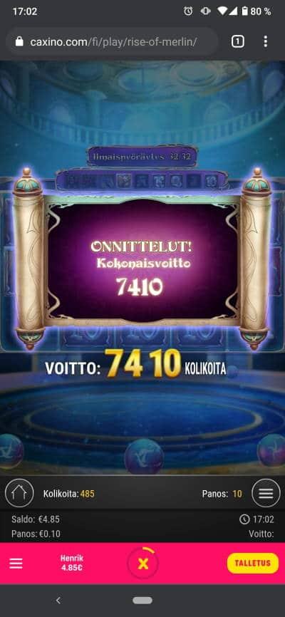 Rise of Merlin Casino win picture by Henkka 7.5.2021 74.10e 741X Caxino