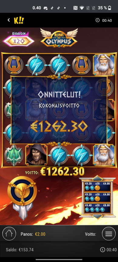 Rise of Olympus Casino win picture by Kirpatsov 14.5.2021 1262.30e 631X