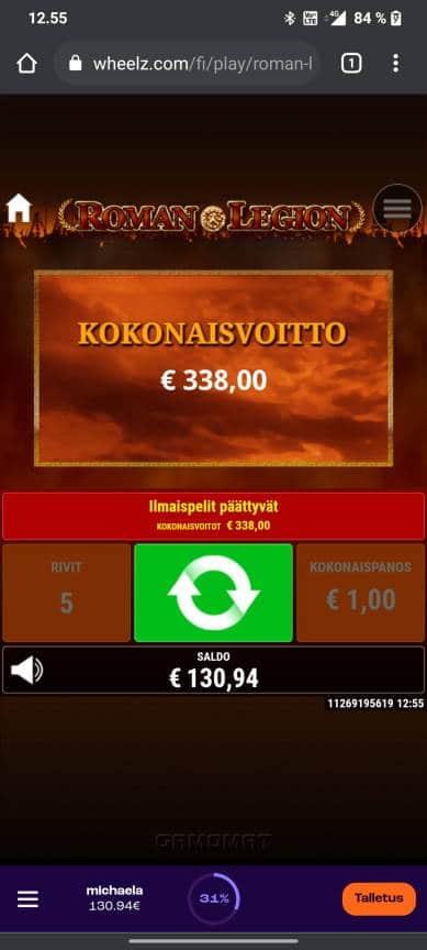 Roman Legion Casino win picture by tiikerililja87 18.5.2021 338e 338X Wheelz