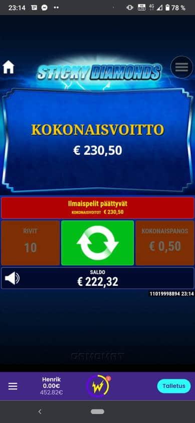 Sticky Diamonds Casino win picture by Henkka 29.4.2021 230.50e 461X Wildz