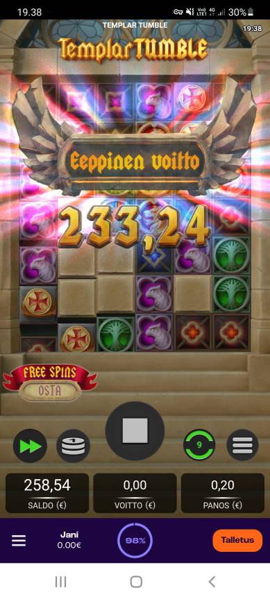 Templar Tumble Casino win picture by Muttis 12.5.2021 233.24e 1166X