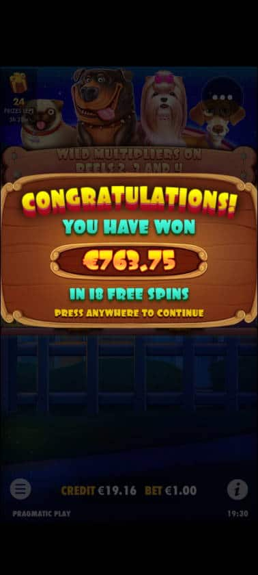 The Dog House Megaways Casino win picture by Muttis 28.4.2021 763.75e 764X