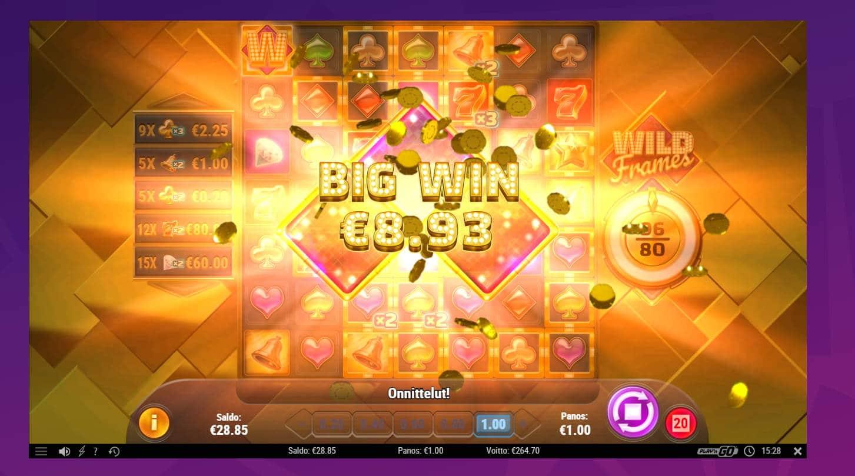 Wild Frames Casino win picture by Banhamm 7.5.2021 264.70e 265X Wheelz