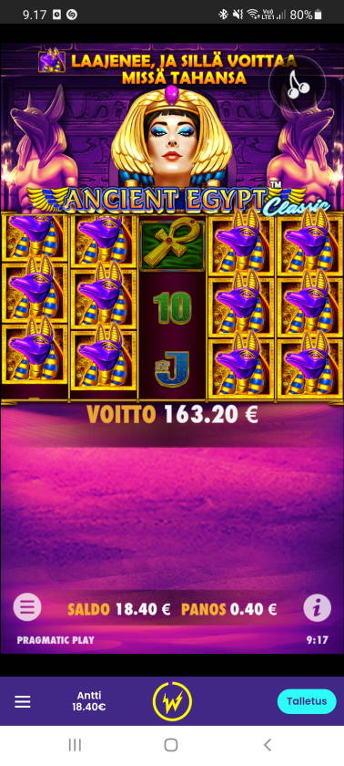 Ancient Egypt Classic Casino win picture by dj_niemi 11.6.2021 163.20e 408X Wildz