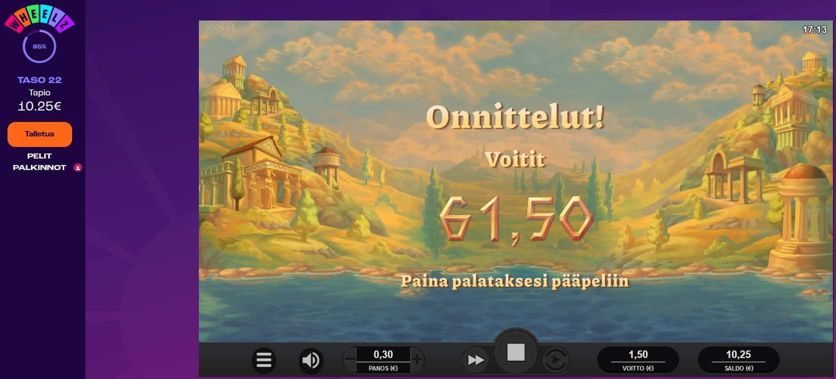 Book of 99 Casino win picture by Mrmork666 31.5.2021 61.50e 205X Wheelz