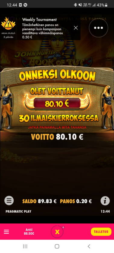 Book of Tut Casino win picture by dj_niemi 11.6.2021 80.10e 401X Caxino