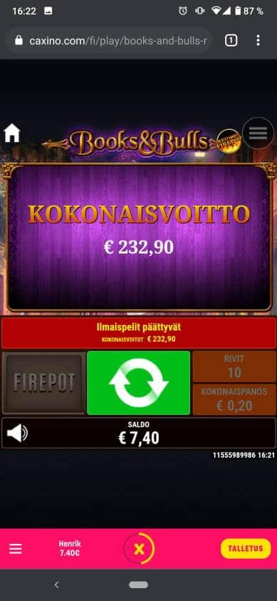 Books & Bulls Casino win picture by Henkka 12.6.2021 232.90e 1165X Caxino