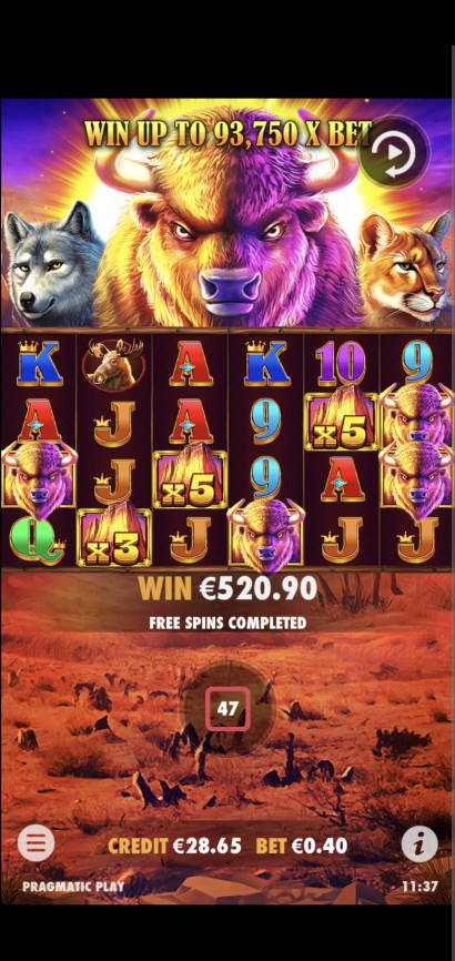 Buffalo King Megaways Casino win picture by MTDManz 15.6.2021 520.90e 1302X