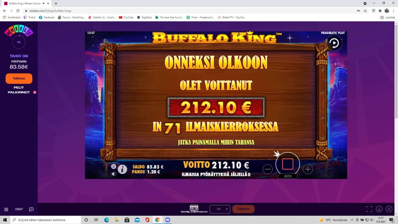 Buffalo King Megaways Casino win picture by tiikerililja87 15.6.2021 212.10e 177X Wheelz