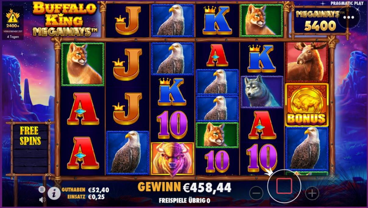 Buffalo King Megaways Casino win picture by x3n81 5.6.2021 458.44e 1834X Wheelz