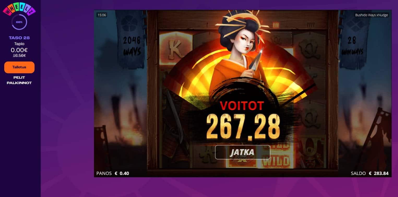 Bushido Ways Casino win picture by Mrmork666 31.5.2021 267.28e 668X Wheelz