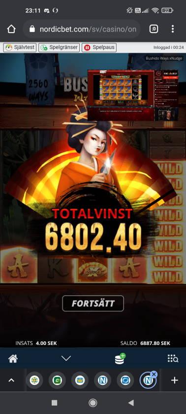 Bushido Ways xNudge Casino win picture by rossoneri82 14.6.2021 6802.40sek 1701X Nordicbet