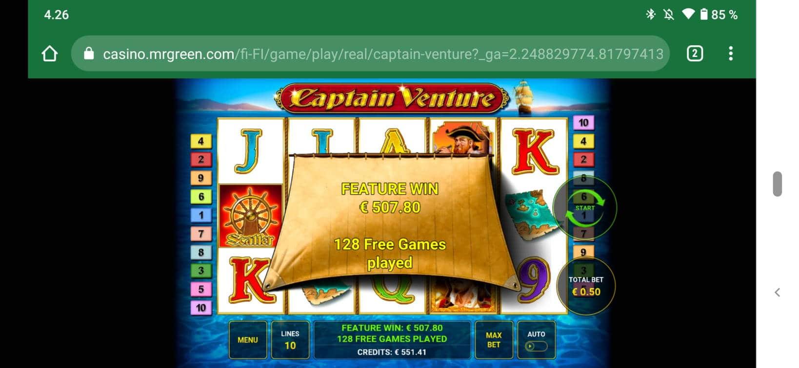 Captain Venture Casino win picture by Kasperi001 27.5.2021 507.80e 1016X MrGreen