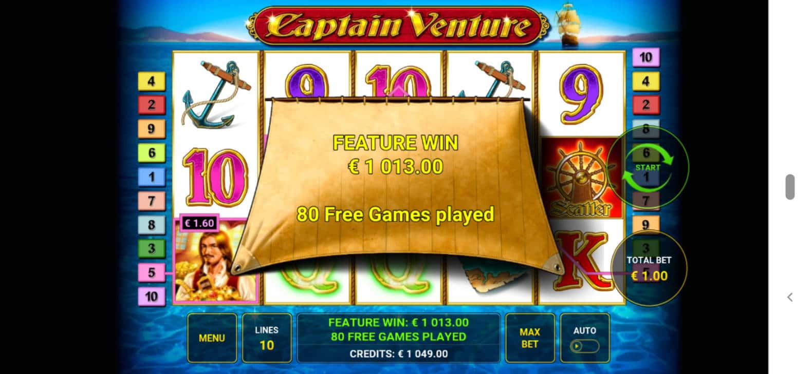 Captain Venture Casino win picture by Kasperi001 6.6.2021 1013e 1013X