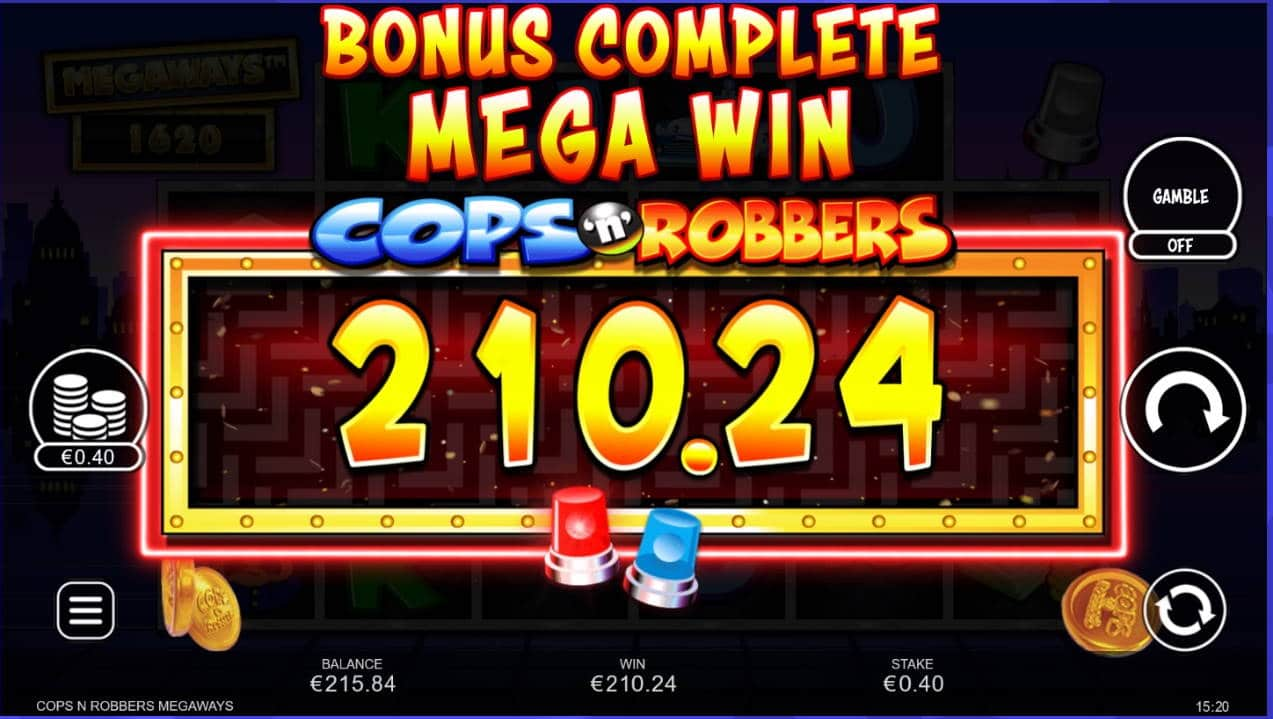 Cops n Robbers Megaways Casino win picture by Mrmork666 31.5.2021 210.24e 526X Caxino