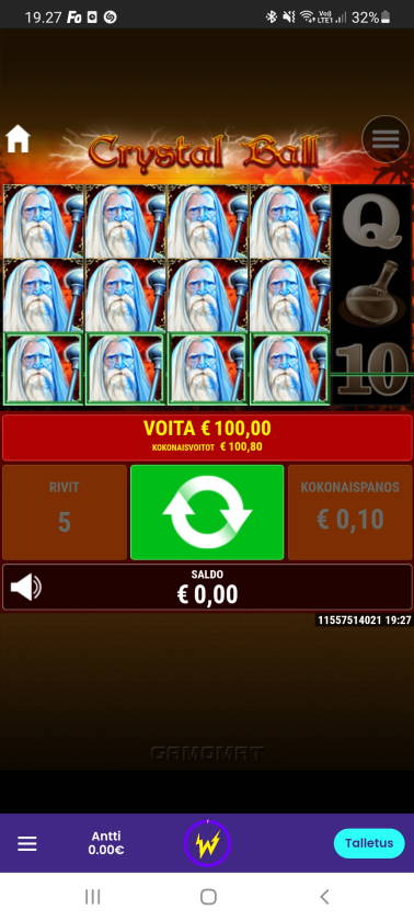 Crystal Ball Casino win picture by dj_niemi 12.6.2021 100.80e 1008X Wildz