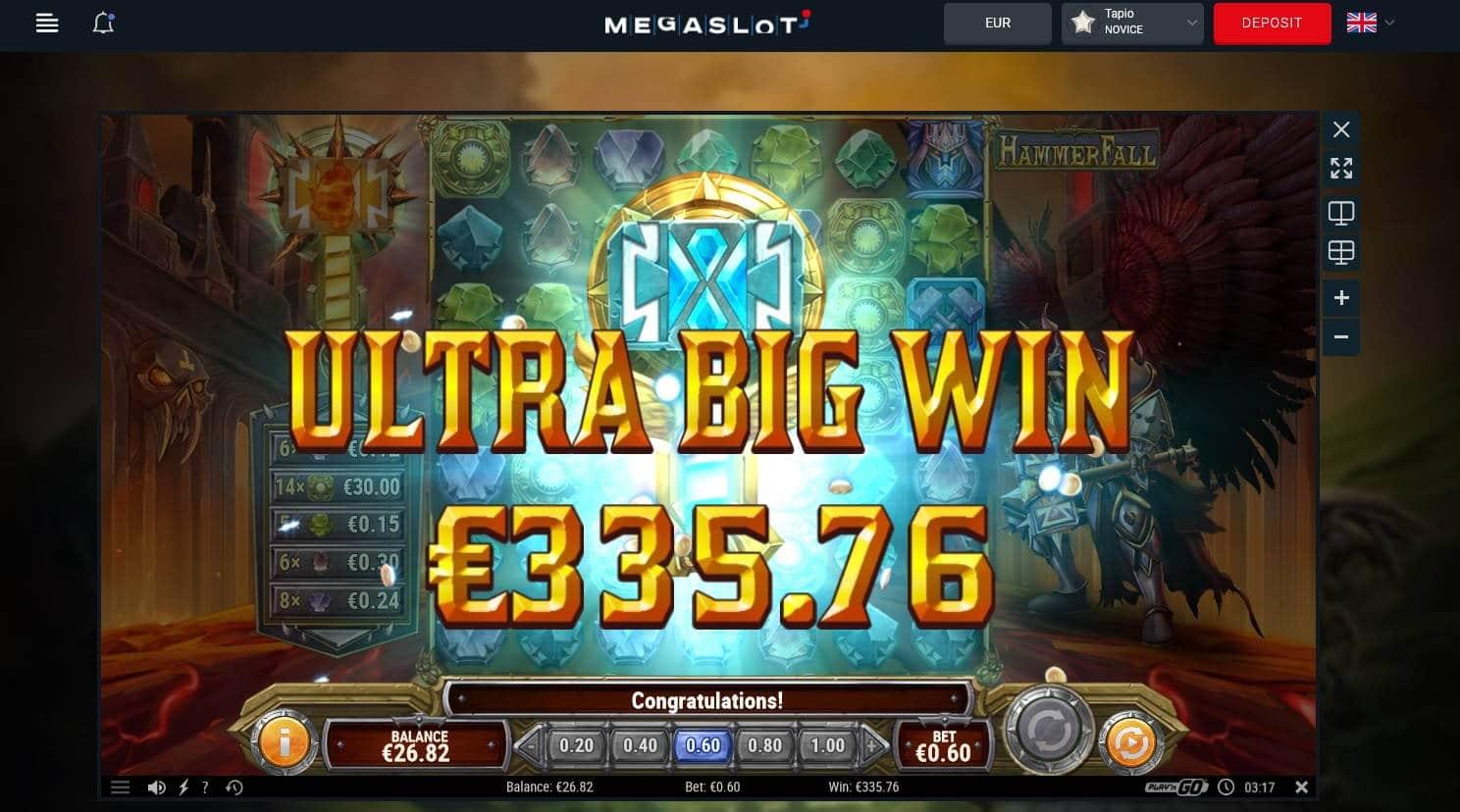 Hammerfall Casino win picture by Mrmork666 31.5.2021 335.76e 560X
