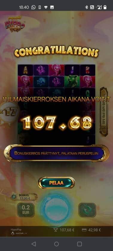 Hippo Pop Casino win picture by HuuZ 1.6.2021 107.68e 538X