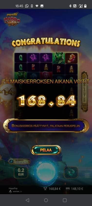 Hippo Pop Casino win picture by HuuZ 1.6.2021 168.84e 844X