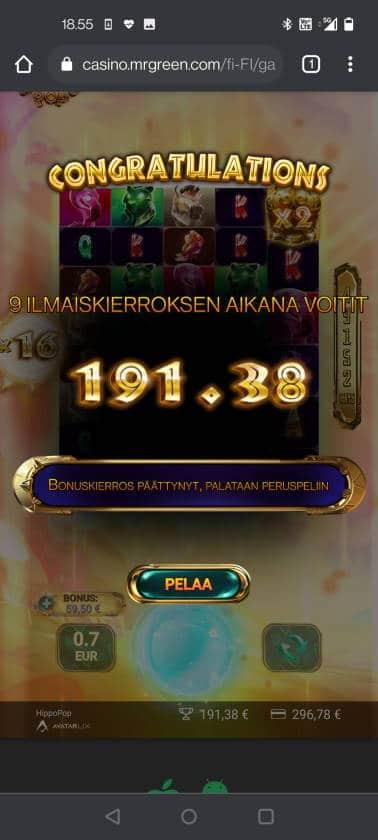 Hippo Pop Casino win picture by HuuZ 1.6.2021 191.38e 273X MrGreen