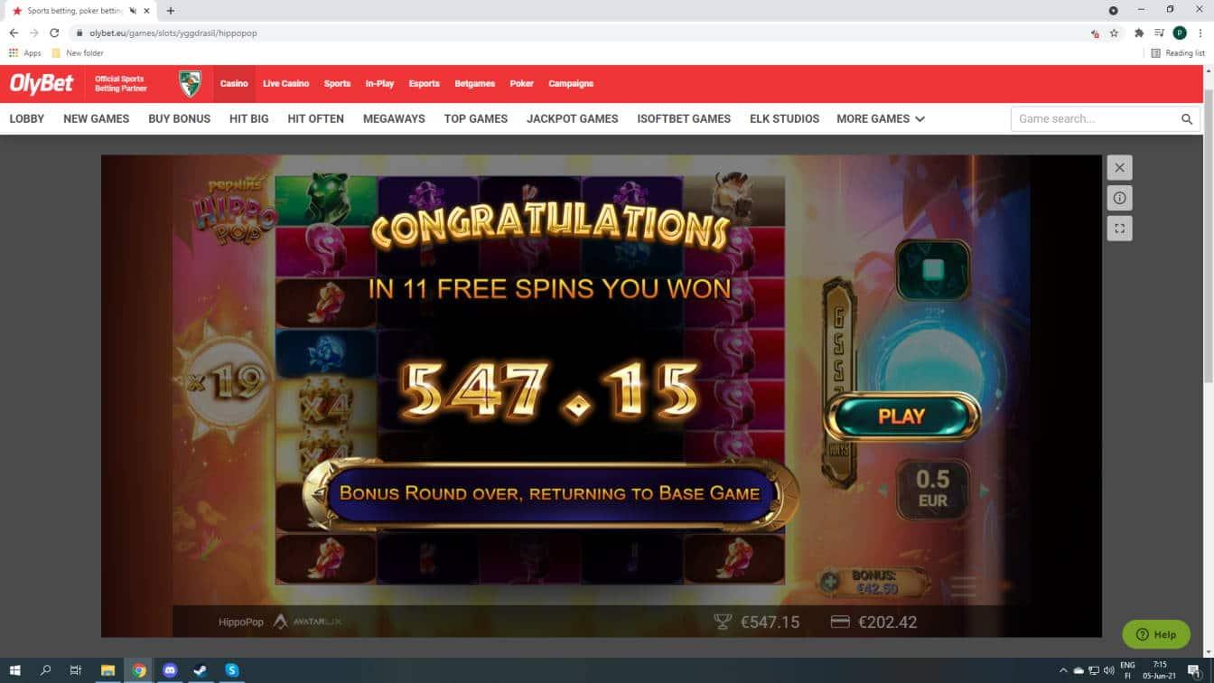 Hippo Pop Casino win picture by fujilwyn 5.6.2021 547.15e 1094X Olybet