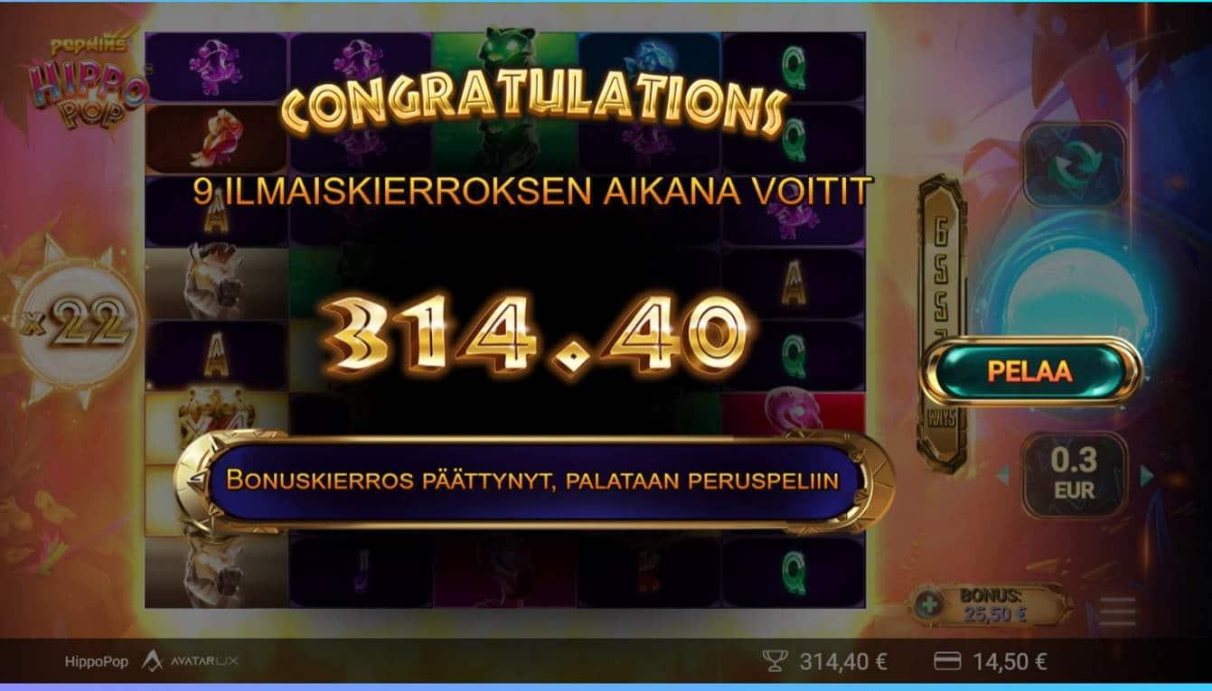Hippo pop Casino win picture by fujilwyn 1.6.2021 314.40e 1048X Wildz