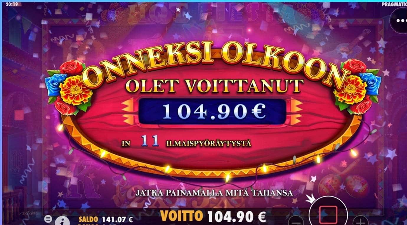 Hot Fiesta Casino win picture by dj_niemi 14.6.2021 104.90e 420X