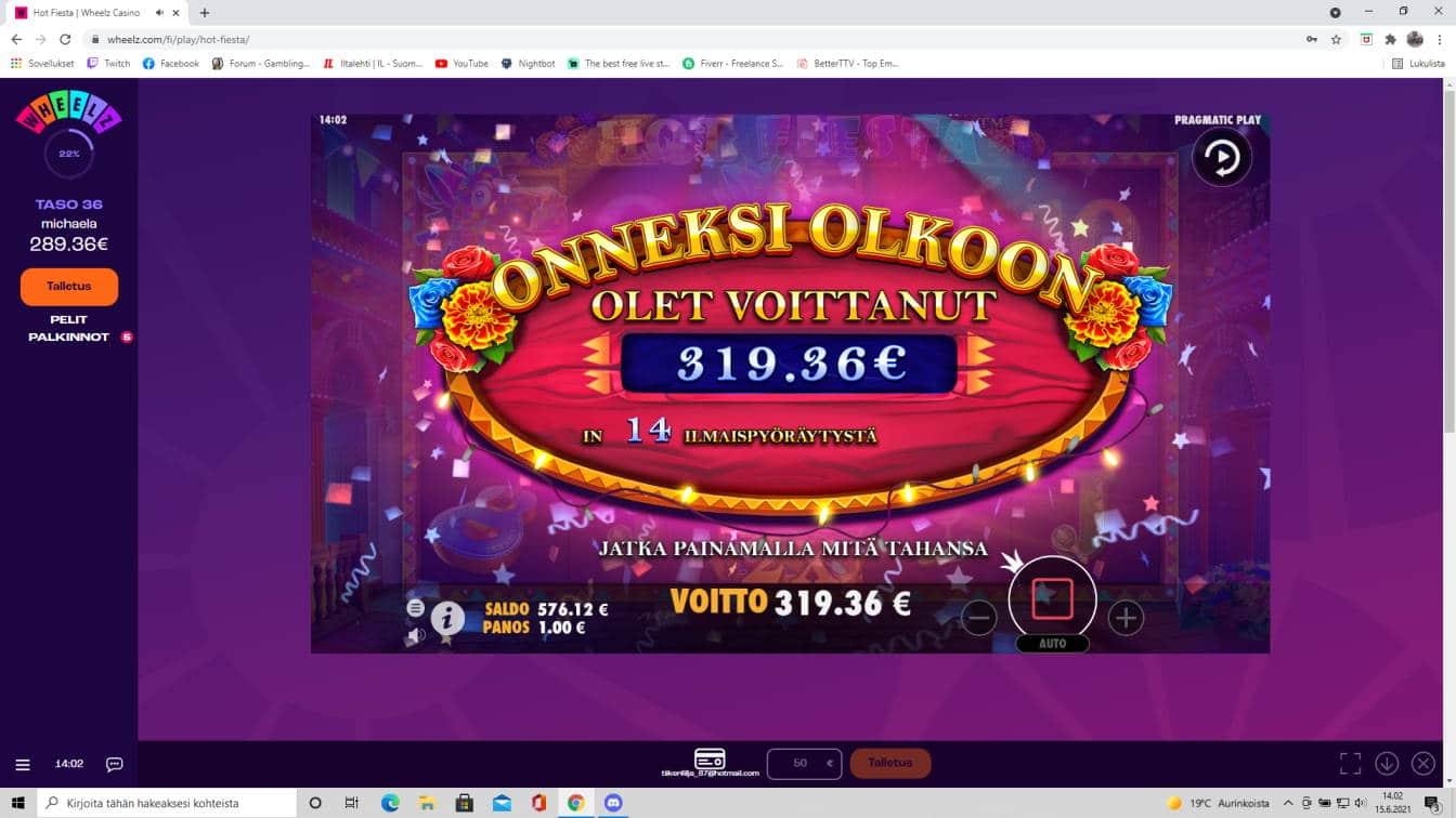 Hot Fiesta Casino win picture by tiikerililja87 15.6.2021 319.36e 319X Wheelz