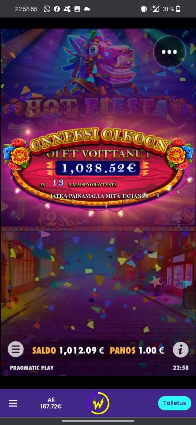 Hot fiesta Casino win picture by alkkade 16.6.20211038.52e 1039X Wildz
