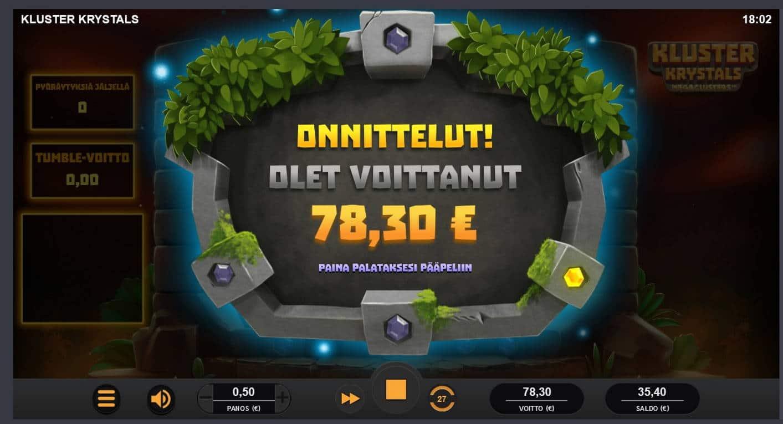 Kluster Krystals Casino win picture by Mrmork666 31.5.2021 78.30e 157X