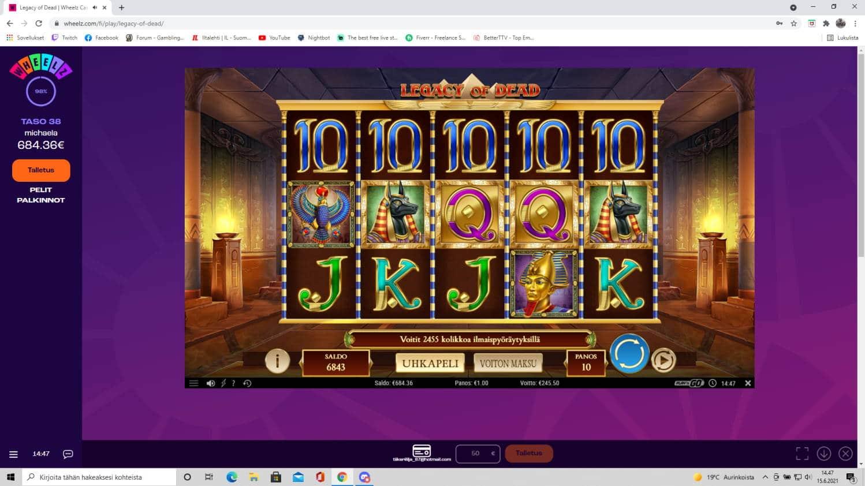Legacy of Dead Casino win picture by tiikerililja87 15.6.2021 245.50e 246X Wheelz