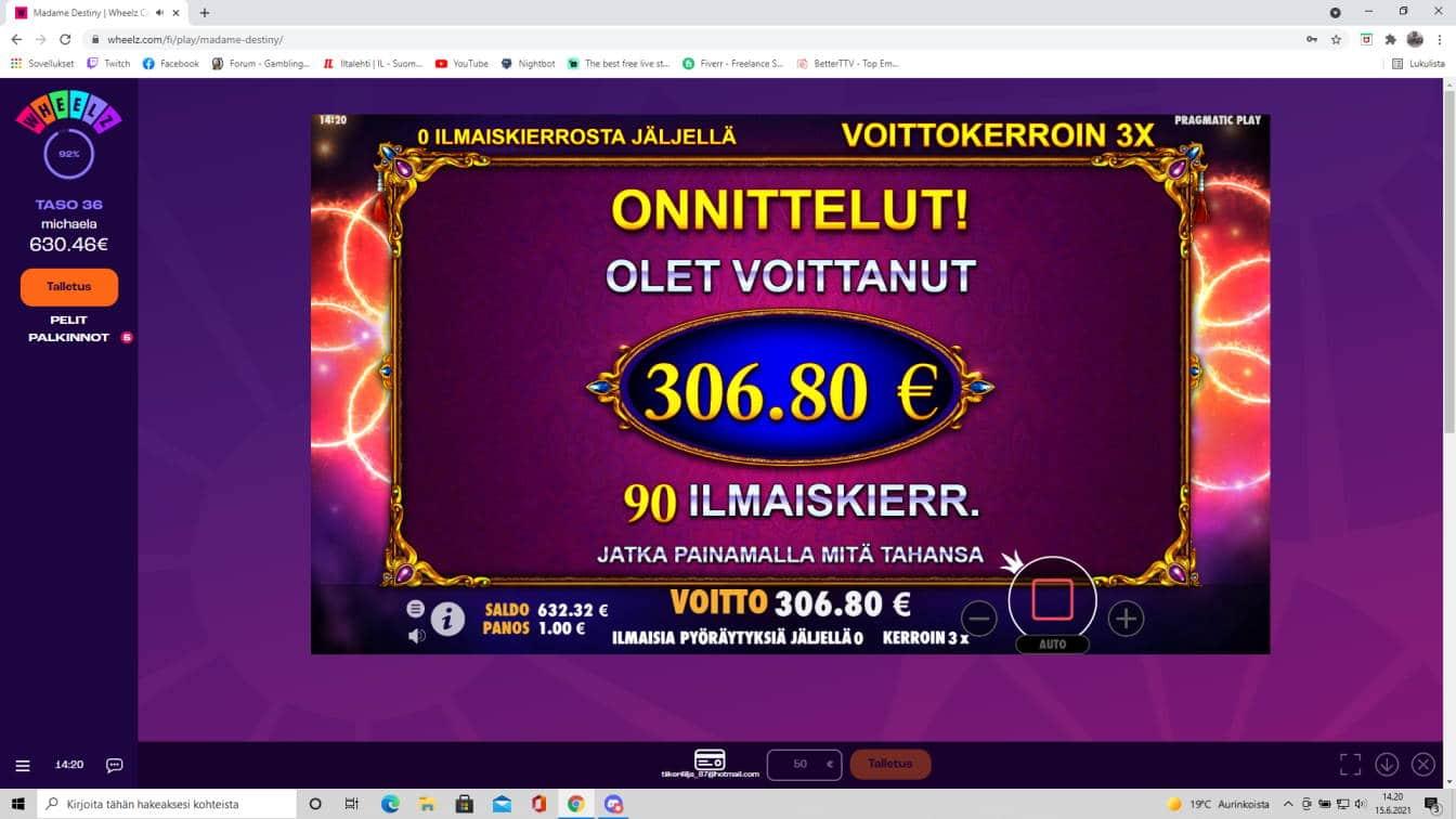 Madame destiny Casino win picture by tiikerililja87 15.6.2021 306.80e 307X Wheelz