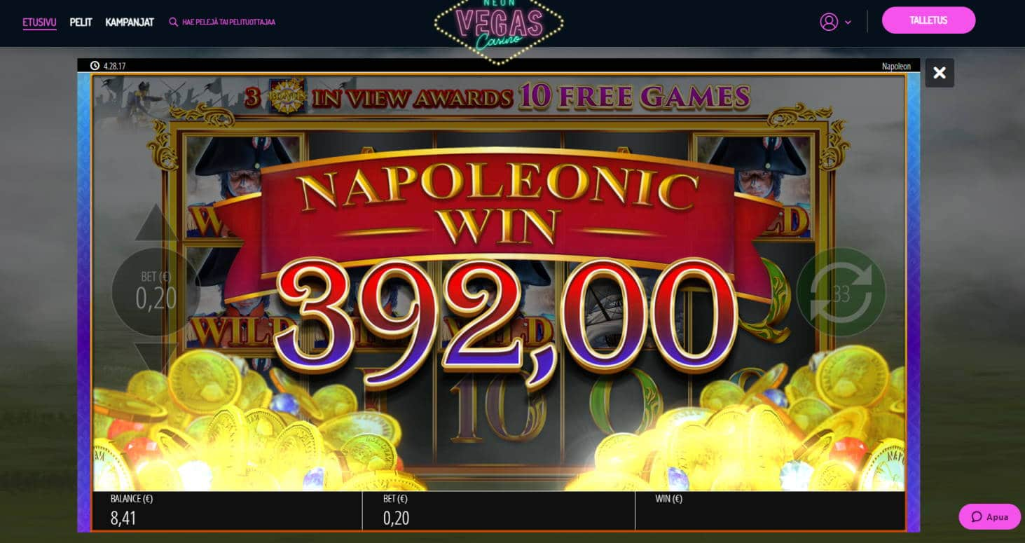 Napoleon Casino win picture by Banhamm 8.5.2021 392e 1960X Neon Vegas