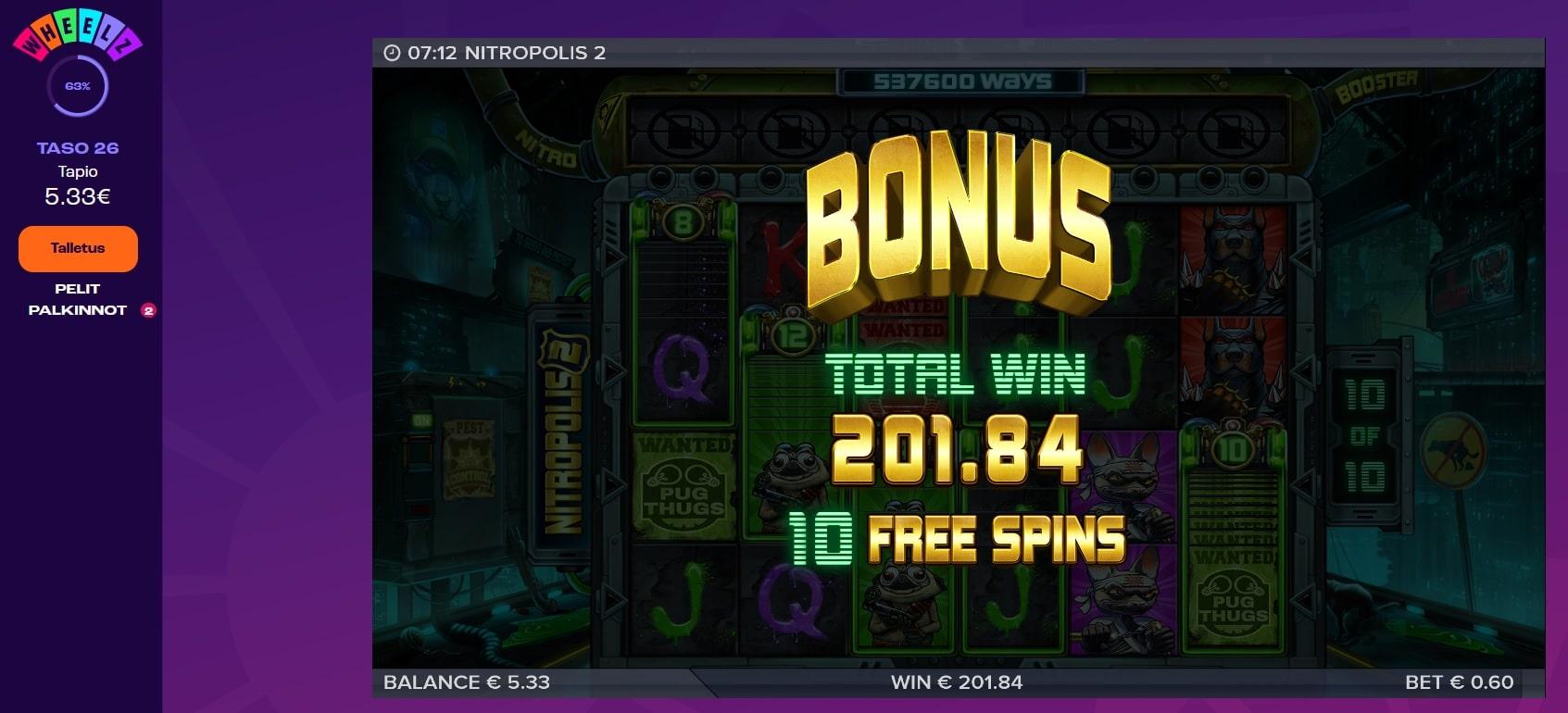 Nitropolis 2 Casino win picture by Mrmork666 31.5.2021 201.84e 336X Wheelz