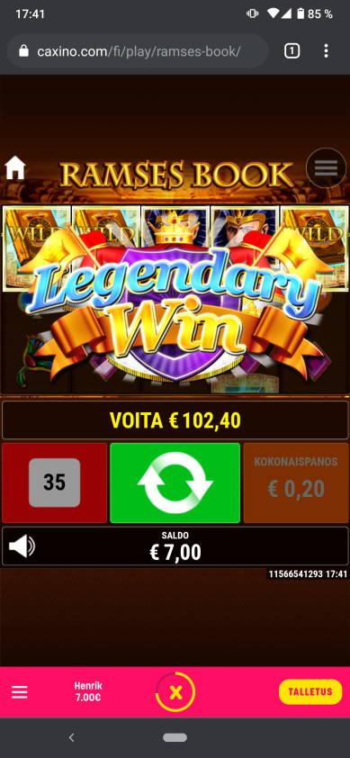 Ramses Book Casino win picture by Henkka 13.6.2021 102.40e 512X Caxino