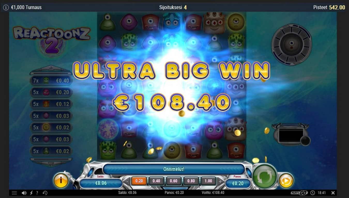Reactoonz 2 Casino win picture by Mrmork666 9.5.2021 108.40e 542X IBet