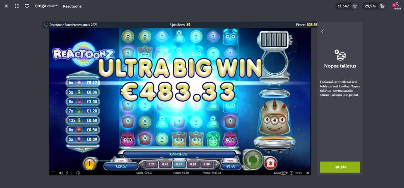 Reactoonz Casino win picture by Banhamm 15.5.2021 483.33e 806X