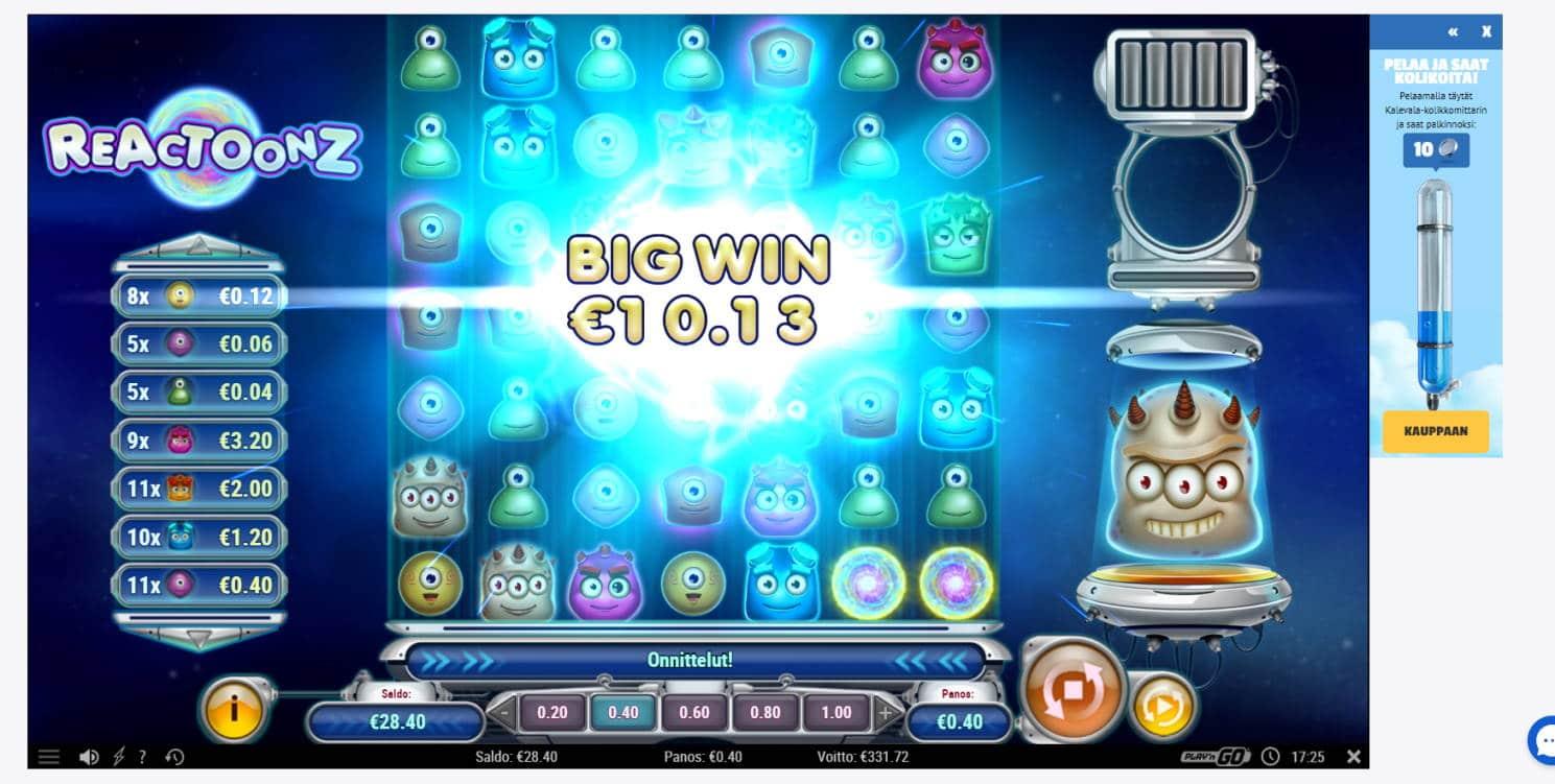 Reactoonz Casino win picture by Banhamm 2.5.2021 331.72e 829X