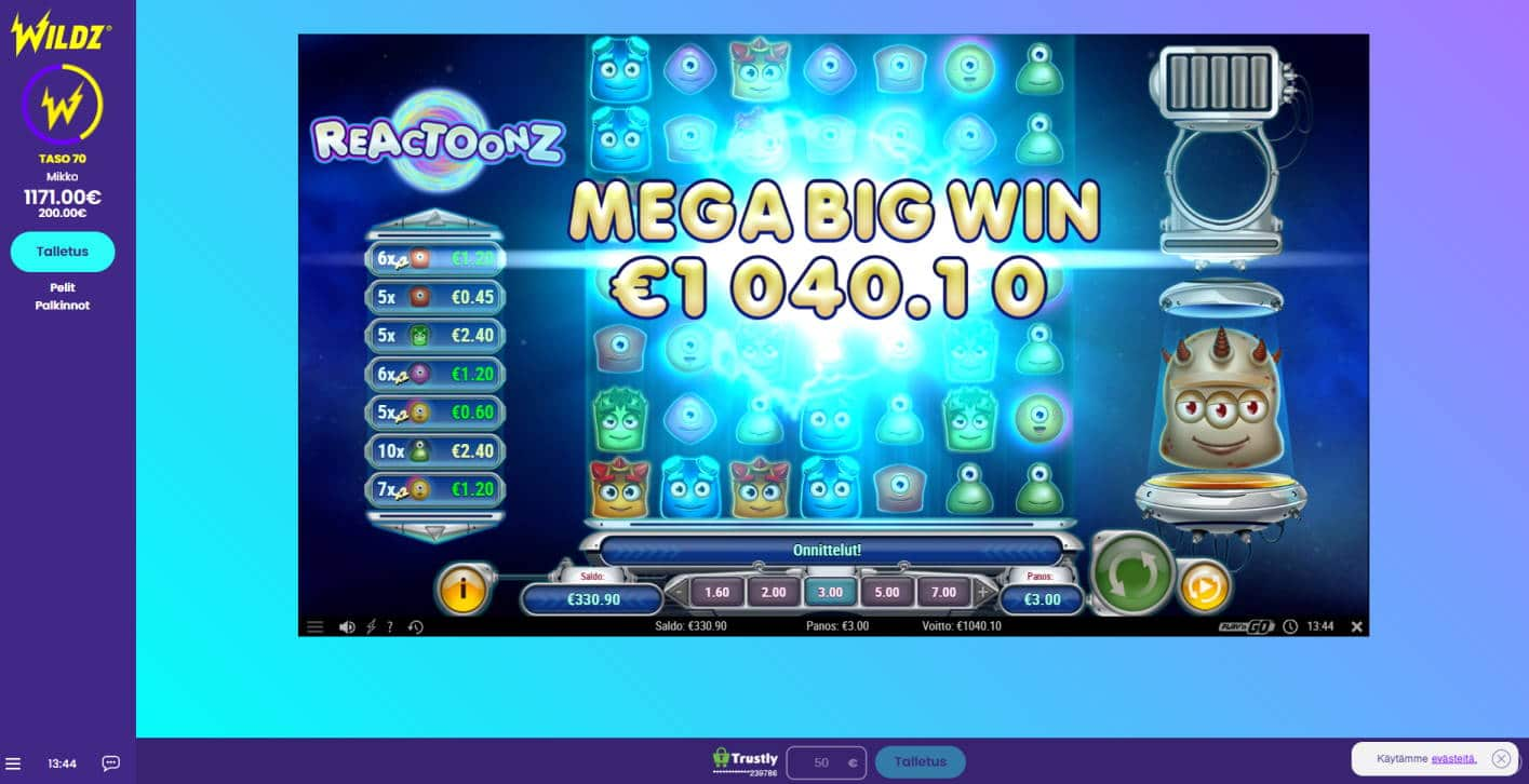 Reactoonz Casino win picture by Banhamm 3.5.2021 1040.10e 347X Wildz