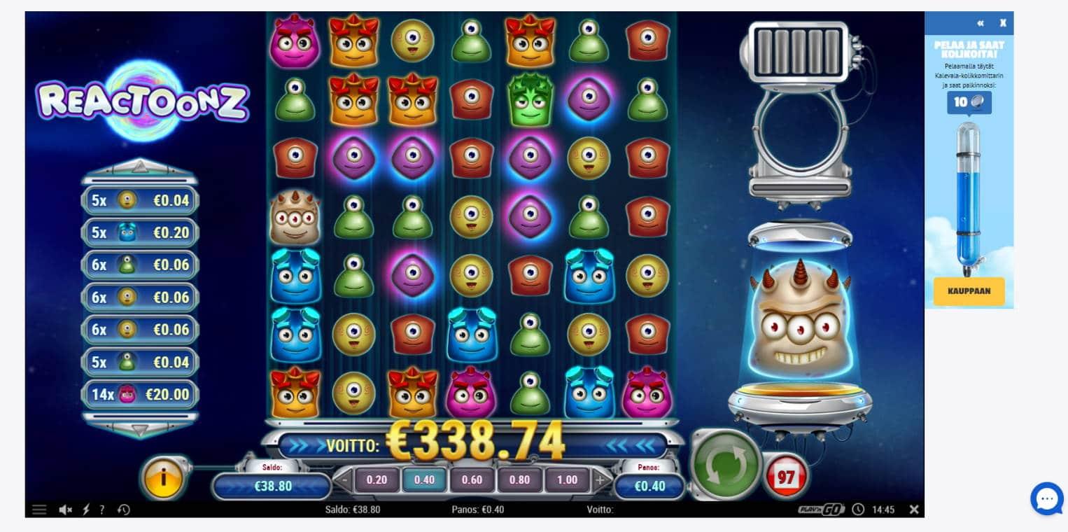 Reactoonz Casino win picture by Banhamm 4.5.2021 338.74e 847X