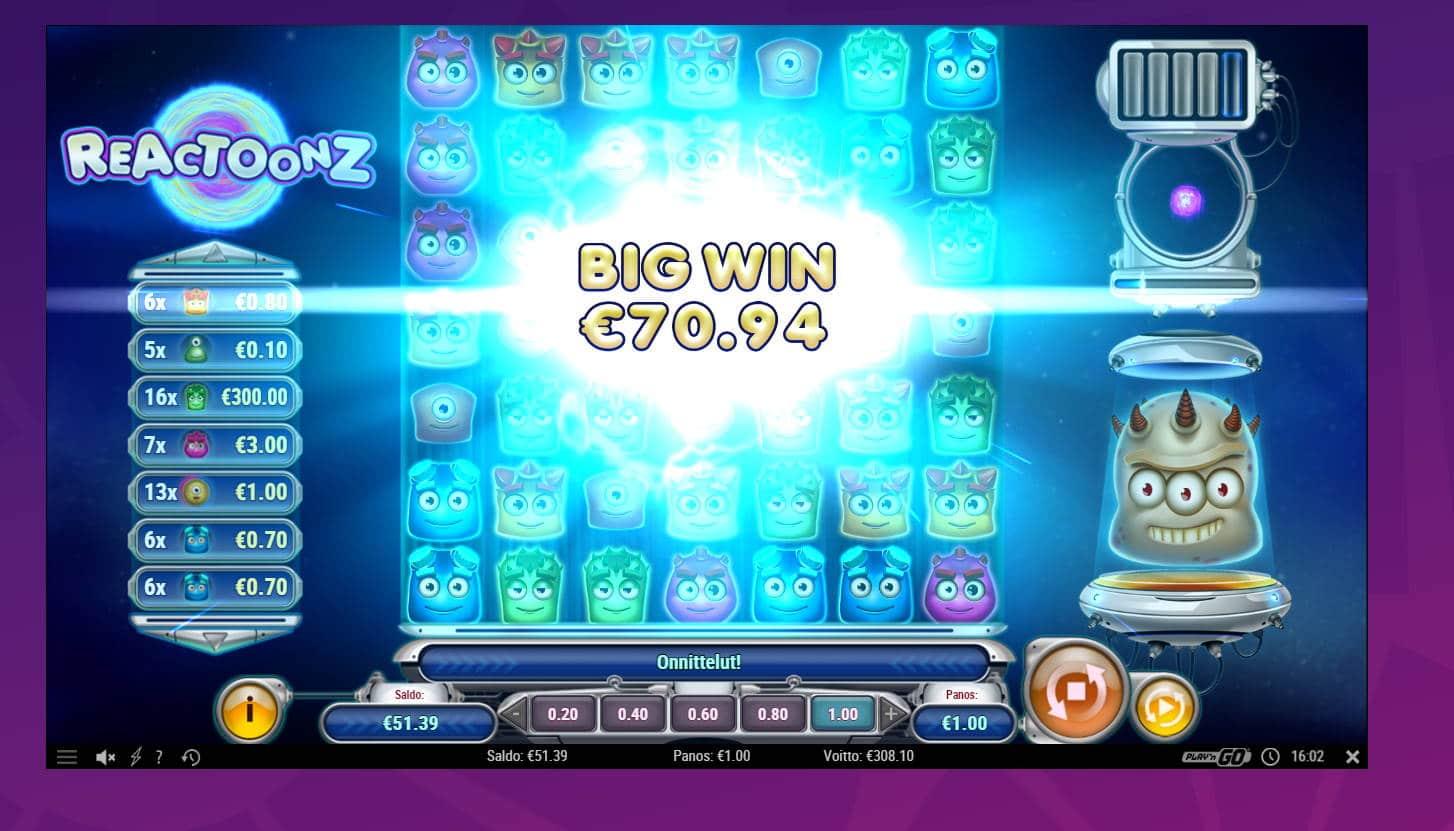Reactoonz Casino win picture by Banhamm 9.5.2021 308.10e 308X Wheelz