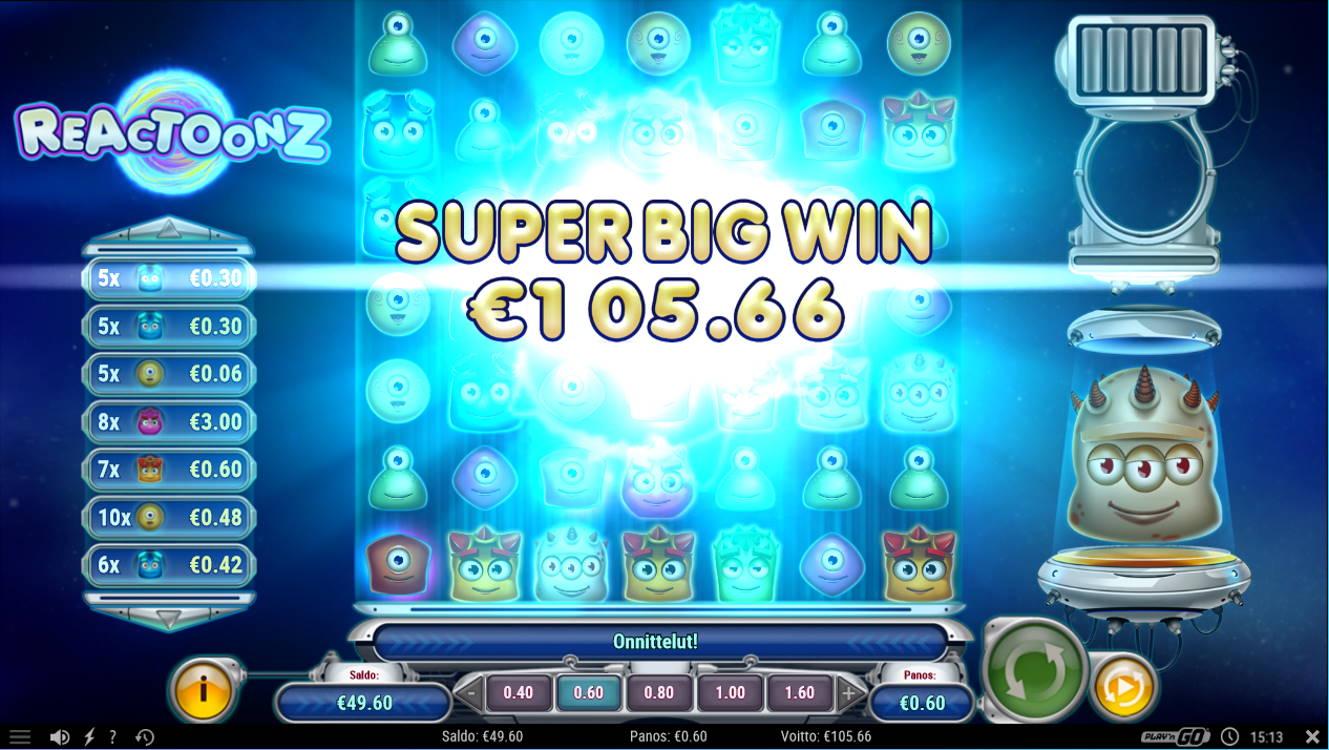 Reactoonz Casino win picture by Kari Grandi 4.5.2021 105.66e 176X