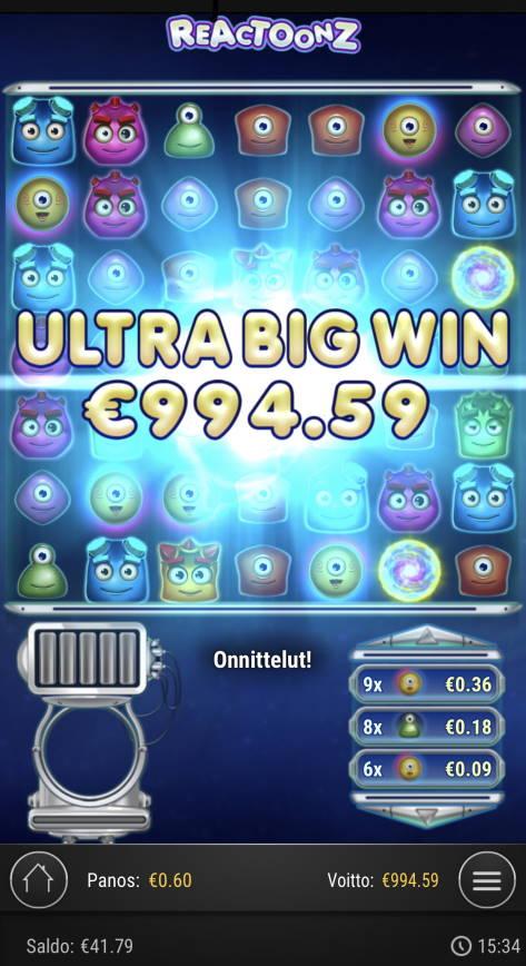 Reactoonz Casino win picture by Sonefinland 16.5.2021 994.59e 1658X