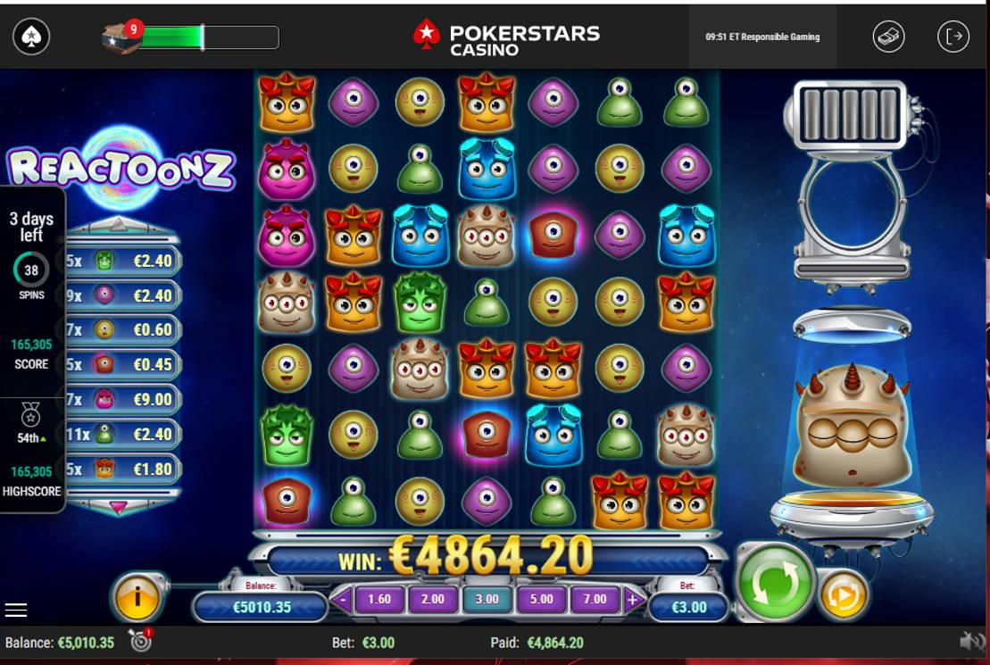 Reactoonz Casino win picture by tthh1 31.5.2021 4864.20e 1621X Poker Stars Casino