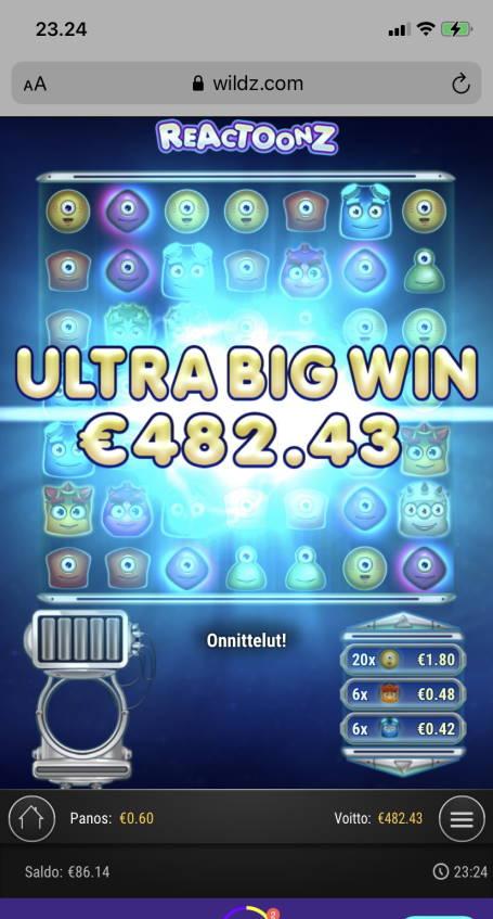 Reactoonz Casino win picture by vesselis 29.5.2021 482.43e 804X Wildz