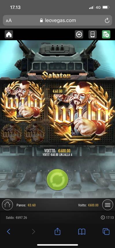 Sabaton Casino win picture by Turboburo 28.5.2021 600e 1000X LeoVegas