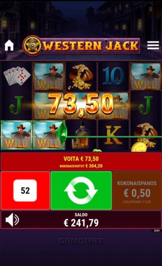 Western Jack Casino win picture by FinOnyx 10.6.2021 73.50e 147X